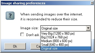 Image sharing image size selection